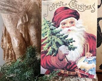 Vintage Santa Christmas Wood Sign JOYFUL CHRISTMAS Red Farmhouse Christmas Decor Wall Art Print St Nick Primitive