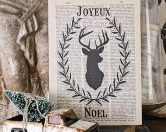JOYEUX NOEL with Deer Head Christmas Sign Vintage Christmas Book Page Art Print Farmhouse Christmas Decor Silhouette Laurel Wreath