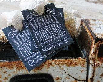 Christmas Gift Tags MERRY CHRISTMAS Chalkboard Farmhouse Decor Vintage French Country Shabby Chic Primitive Christmas
