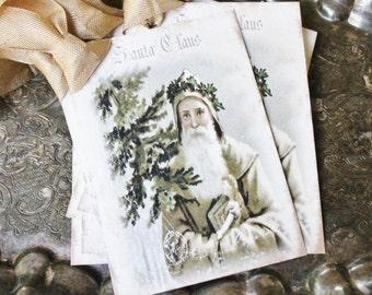 SANTA Christmas Gift Tags Vintage SANTA CLAUS with Pine Tree Farmhouse Christmas Decor Card French Shabby Gift Wrap