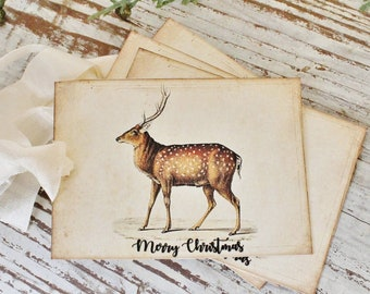 Christmas Gift Tags Vintage Deer Fawn MERRY CHRISTMAS Farmhouse Decor Card  Gift Wrap Christmas Stag Buck Primitive Christmas