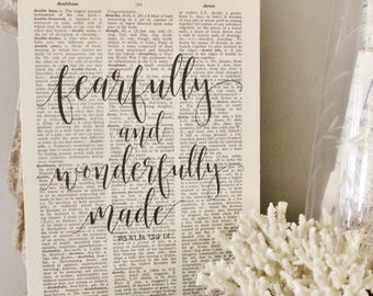 Fearfully and Wonderfully Made Wood Sign Vintage Dictionary Art Print Bible Verse Wall Book Page Sign Farmhouse Decor Wedding Scripture