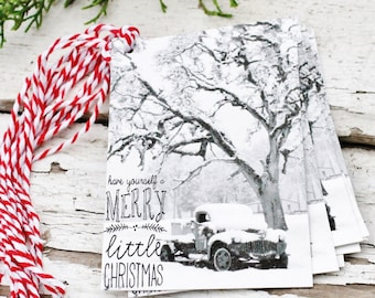 Christmas Gift Tags Vintage Truck Have Yourself A Merry Little Christmas Retro Snow Farmhouse Decor Gift Wrap Fixer Upper Style