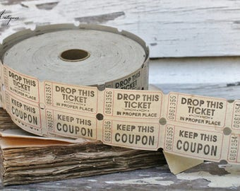 Vintage Raffle Ticket Fair Carnival Beige Cream Farmhouse Decor Fixer Upper Ephemera Scrapbook Supplies