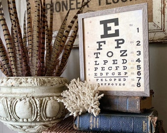Vintage EYE CHART Wood Sign Frame Mounted Print Farmhouse Decor Page Wall Art Print Primitive Decor Poster Homeschool Decor