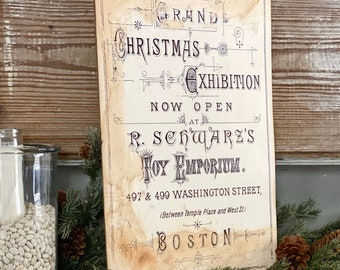 CHRISTMAS EXHIBITION Wood Sign Vintage Christmas Advertising Decor Toy Poster Mounted Farmhouse Christmas Decor Book Page Primitive Decor
