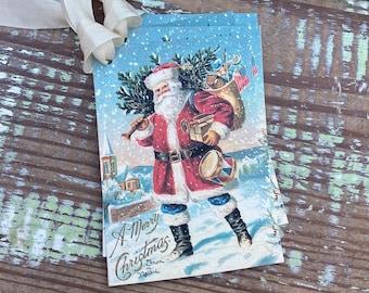 Christmas Vintage Gift Tags SANTA Farmhouse Christmas Decor Card French Shabby Gift Wrap