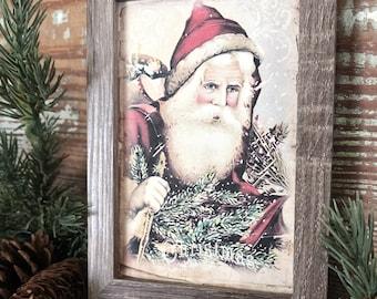 Vintage Christmas Frame SANTA Framed Sign Farmhouse Christmas Decor Barn Wood Rustic Christmas Sign Primitive Christmas