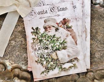 Christmas Gift Tags Vintage SANTA CLAUS with Tree Farmhouse Christmas Decor Christmas Card French Shabby Gift Wrap