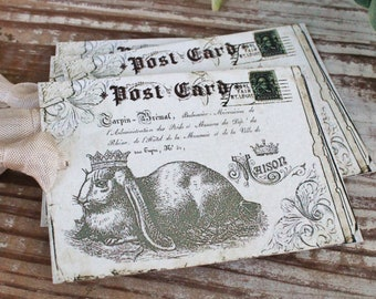 EASTER Vintage Gift Tags Post Card Rabbit Bunny Crown French Farmhouse Decor Card  Shabby