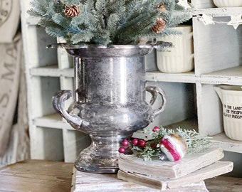 Antique Silver Trophy Cup Ice Bucket French Country Farmhouse Decor Shabby Chic ROGERS SILVER Co