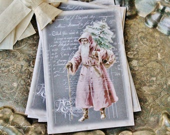 Christmas Gift Tags PINK Vintage SANTA with Tree Farmhouse Decor Chalkboard Card French Shabby Gift Wrap