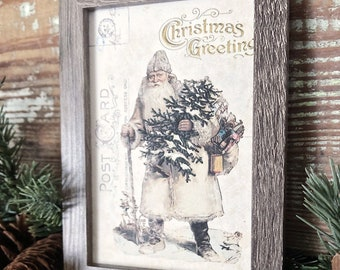 Vintage Christmas Frame SANTA Post Card Framed Sign Farmhouse Christmas Decor Barn Wood Rustic Christmas Sign