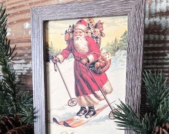 Vintage Christmas Frame Santa JOYEUX NOEL Framed Sign Farmhouse Christmas Decor Barn Wood Rustic Christmas Sign