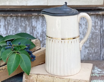 Antique Creamy White Ironstone Pitcher With Pewter Lid Farmhouse Decor English Ironstone LARGE Grungy Crazing