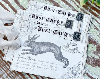 EASTER Vintage Gift Tags Post Card Hoping Rabbit Bunny Crown French Farmhouse Decor Card  Shabby