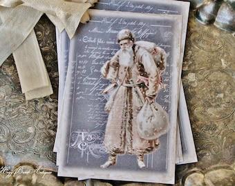 Christmas Gift Tags Vintage SANTA with Sack Farmhouse Decor Chalkboard Card French Shabby Gift Wrap