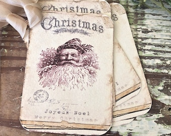 Christmas Vintage Gift Tags SANTA CLAUS St Nick Farmhouse Christmas Decor Card French Shabby Gift Wrap