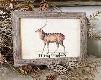 Vintage Christmas Sign DEER Frame Farmhouse Merry Christmas Decor Barn Wood Rustic Primitive Christmas Sign Elk Fawn