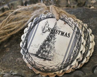 Christmas Gift Tags Vintage Pine TREE Farmhouse Christmas Grain Sack Card French Shabby Gift Wrap Scallop Circle Primitive Rustic Grungy