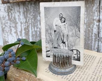 Vintage Metal Floral Frog Antique Flower Spike Display Farmhouse Decor Garden Industrial Salvage