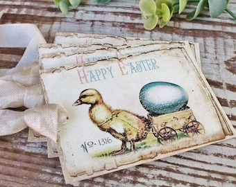 EASTER Vintage Gift Tags Happy Easter Chick Eggs French Farmhouse Decor Card  Shabby