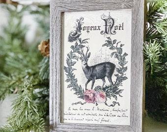 Vintage Christmas JOYEUX NOEL DEER Frame Farmhouse Christmas Decor Barn Wood Rustic Primitive Christmas Sign Laurel Wreath Pink Roses