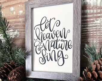 Vintage Christmas Frame Let Heaven And Nature Sing Framed Sign Farmhouse Christmas Decor Barn Wood Rustic Christmas Sign