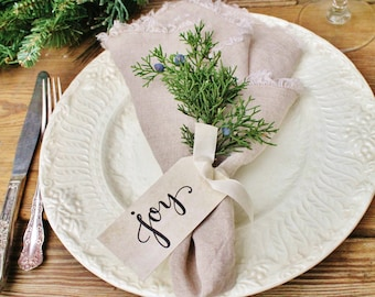 JOY GIFT TAG Christmas Tag Place Card Napkin Ring Name Card Hand Lettered Calligraphy French Farmhouse Christmas Decor Card Fixer Upper