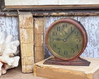 Antique BIG BEN Deluxe Metal Alarm Clock Face Farmhouse Decor Industrial Salvage Westclox USA Rose Crackle 1927