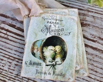 EASTER Vintage Gift Tags Grain Sack Chicks Bucket French Farmhouse Decor Card  Shabby