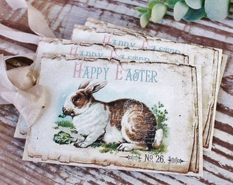 EASTER Vintage Gift Tags Happy Easter Rabbit Bunny Eggs French Farmhouse Decor Card  Shabby