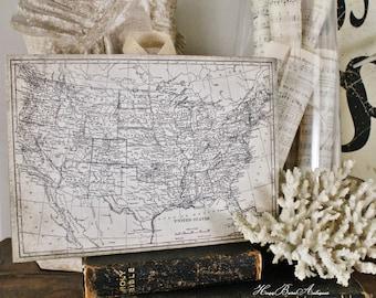 Vintage US MAP Wood Sign Print Farmhouse Decor Primitive Page Wall Art Print  Fixer Upper Decor United States Homeschool Decor