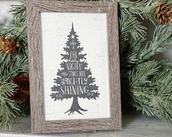 Vintage Christmas OH HOLY NIGHT Frame Farmhouse Christmas Decor Barn Wood Rustic Primitive Christmas Sign Tree Silhouette