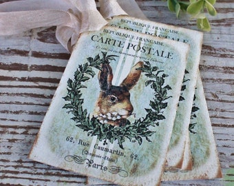 EASTER Vintage Gift Tags Rabbit Bunny Grain Sack Laurel Wreath French Farmhouse Decor Card  Shabby