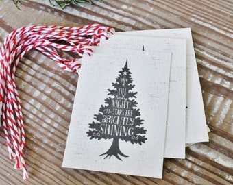 Christmas Gift Tags Vintage Christmas Tree OH HOLY NIGHT Farmhouse Decor Gift Wrap Tree Silhouette Hand Lettered Pine Tree Thrill of Hope