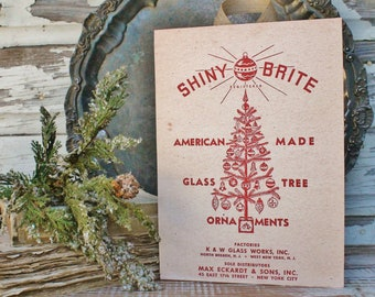 SHINY BRITE ORNAMENTS Wood Sign Red Farmhouse Christmas Decor Vintage Ornament Advertising Sign Wall Art Print