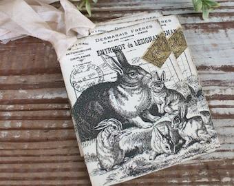 EASTER Vintage Gift Tags Post Card Rabbit Bunny French Farmhouse Decor Card  Shabby