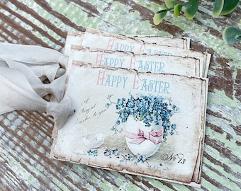 HAPPY EASTER Vintage Gift Tags  BLUE Flowers Easter Egg French Farmhouse Decor Card Shabby