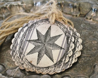 Christmas Gift Tags Vintage STAR Farmhouse Decor Grain Sack Christmas Card French Shabby Gift Wrap Scallop Circle Rustic Grungy Primitive