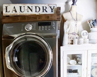 LAUNDRY Sign Farmhouse Decor Primitive  Salvage Barn Wood Reclaimed White Chippy Paint Architectural Rustic Painted Sign Fixer Upper Decor