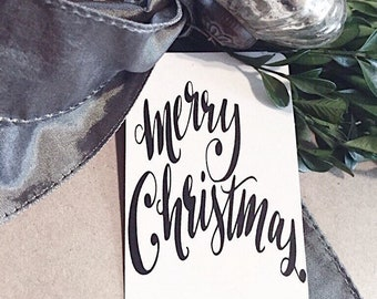 Calligraphy Christmas Gift Tags MERRY CHRISTMAS Hand Lettered Farmhouse Christmas Decor Card French Shabby Gift Wrap