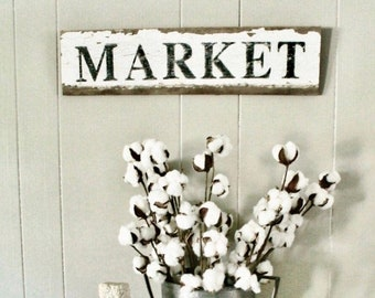 MARKET Sign Salvage Barn Wood Farmhouse Wood Sign Decor Reclaimed White Chippy Paint Primitive Architectural  Painted Rustic Wall Sign