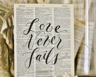 Love Never Fails Wood Sign Vintage Dictionary Art Print Bible Scripture Verse Book Page Wall Sign Valentine Farmhouse Decor Wedding