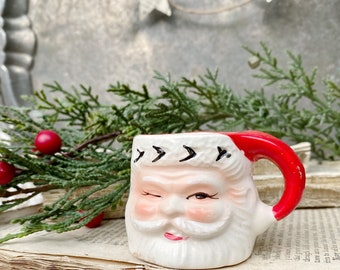 Vintage Ironstone Santa Claus Cup Mini Mug Winking Santa Hand Painted Farmhouse Christmas Decor