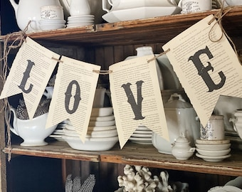 LOVE Banner Vintage Book Page Bunting Pennant Sign Farmhouse Decor Garland Rustic Book Page Art HOME DECOR