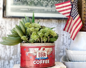 Antique Vintage IGA DELUXE Coffee Can Tin Canister Farmhouse Decor EAGLE Red White Blue Americana Decor