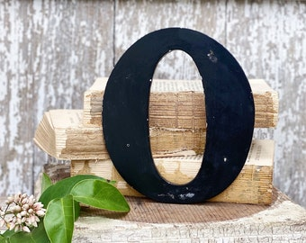 """Vintage Metal Letter """"O"""" Marquee Sign Chippy BLACK  Farmhouse Decor Industrial Salvage Fixer Upper Decor"""