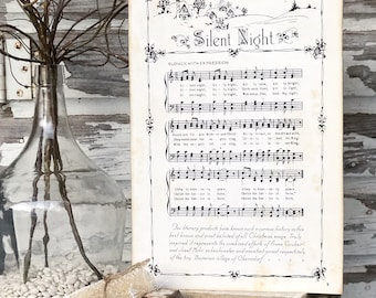 SILENT NIGHT Sign Wood Vintage Sheet Music Carol Christmas Decor Poster Farmhouse Decor Book Page Wall Art