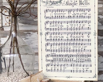 JINGLE BELLS Sign Wood Vintage Sheet Music Carol Christmas Decor Poster Farmhouse Decor Book Page Wall Art